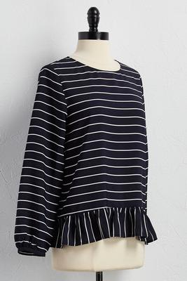 ruffled hem striped top