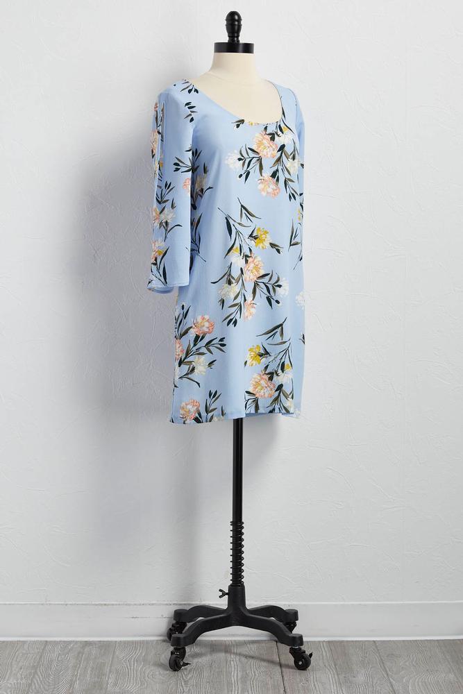 Floral Print Lattice Back Shift Dress