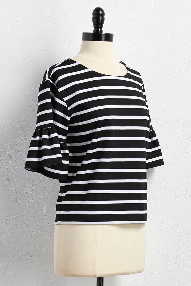 Flounced Sleeve Striped Skimmer Top
