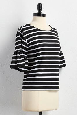 flounced sleeve striped skimmer top
