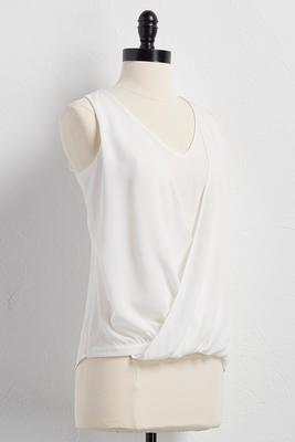 mock layered surplice tank