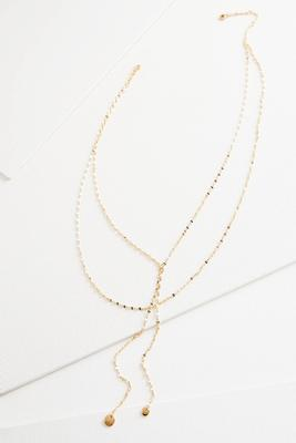 layered chain tassel y-necklace
