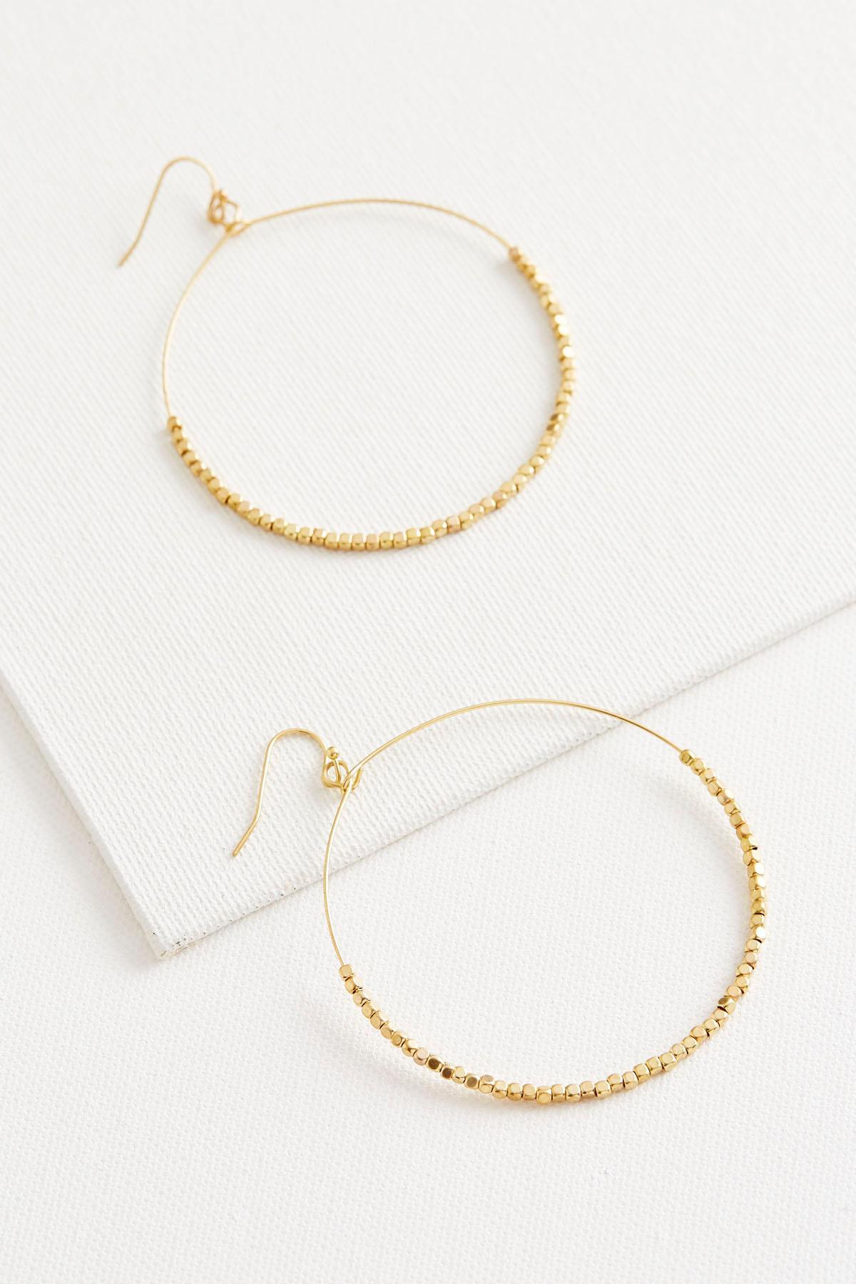 Beaded Wire Hoop Earrings