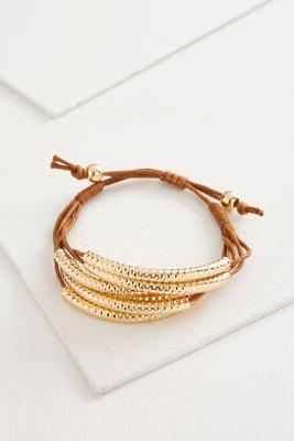 hammered barrel cord bracelet
