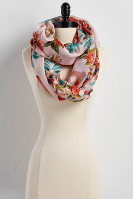 floral flamingo infinity scarf