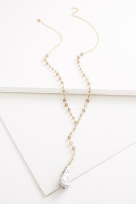 beaded semi-precious y-necklace