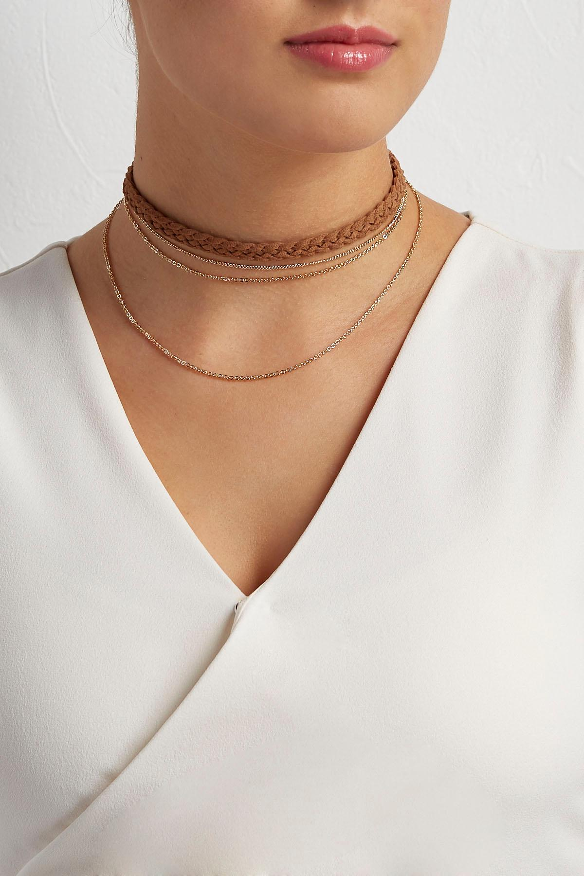 Faux Suede Braided Choker
