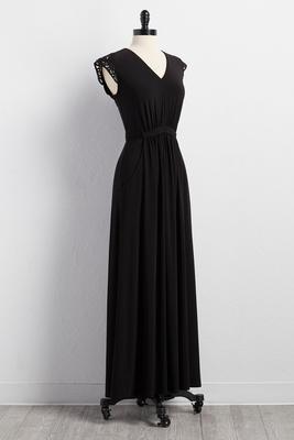 crochet shoulder maxi dress