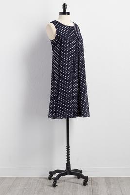 polka dot flyaway shift dress