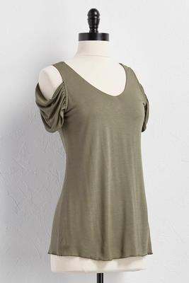 ruched bare shoulder top