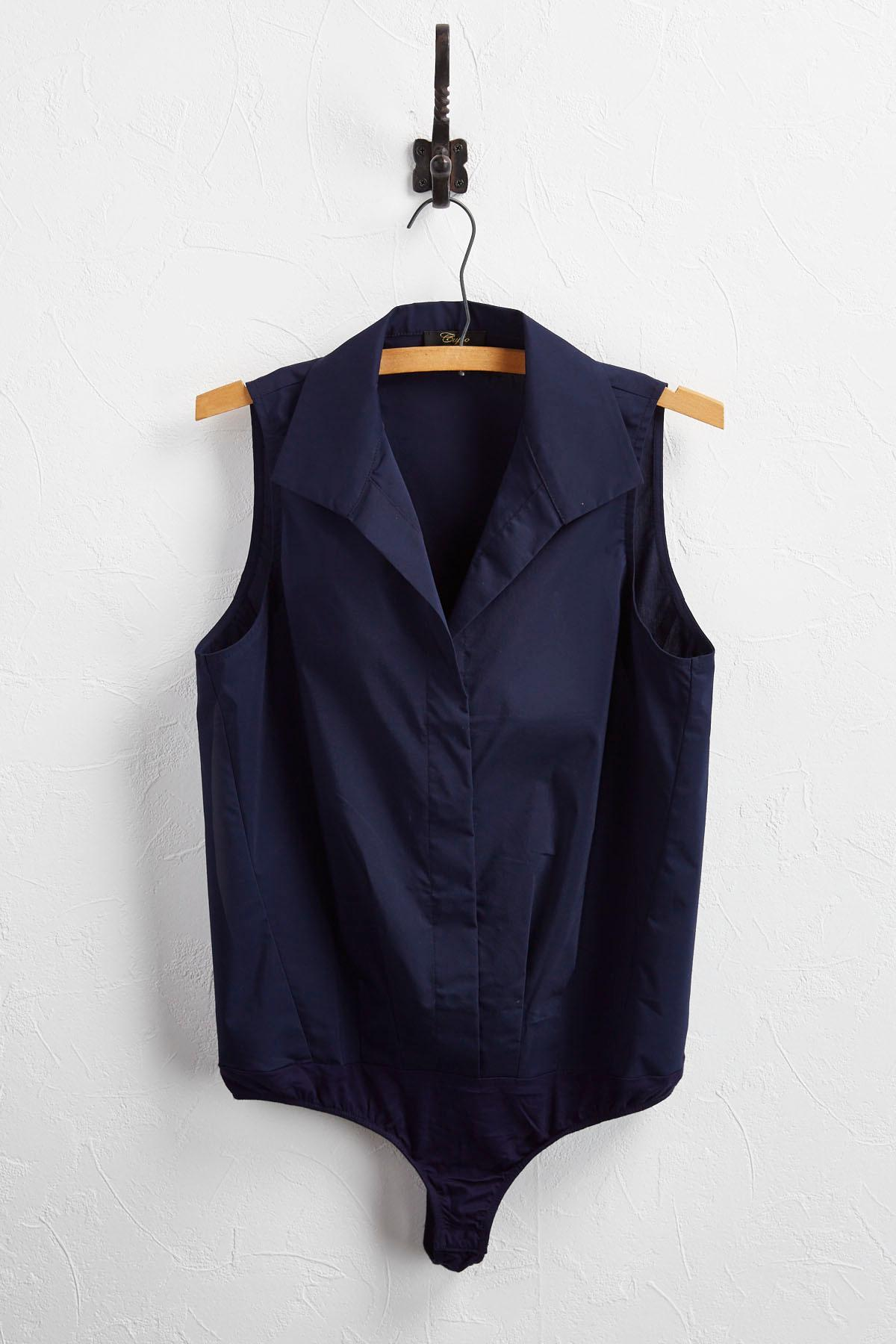 Collared Snap Button Bodysuit