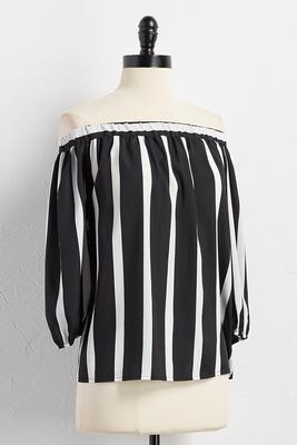 striped tie back off the shoulder top
