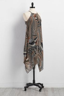 exotic print hanky hem dress