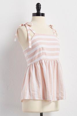 tie strap directional striped babydoll tank