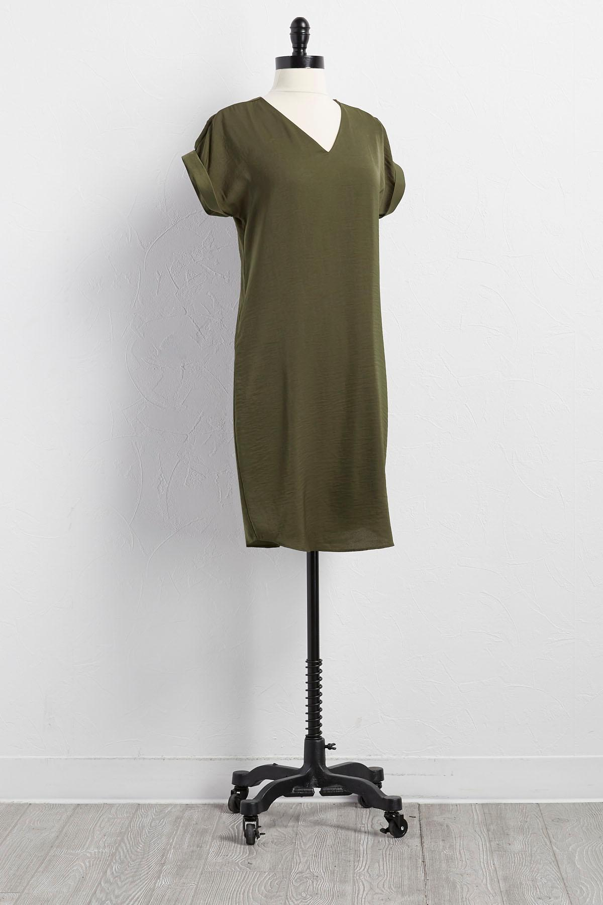 Crushed Satin Shift Dress