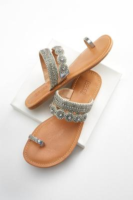 rhinestone slip on sandals
