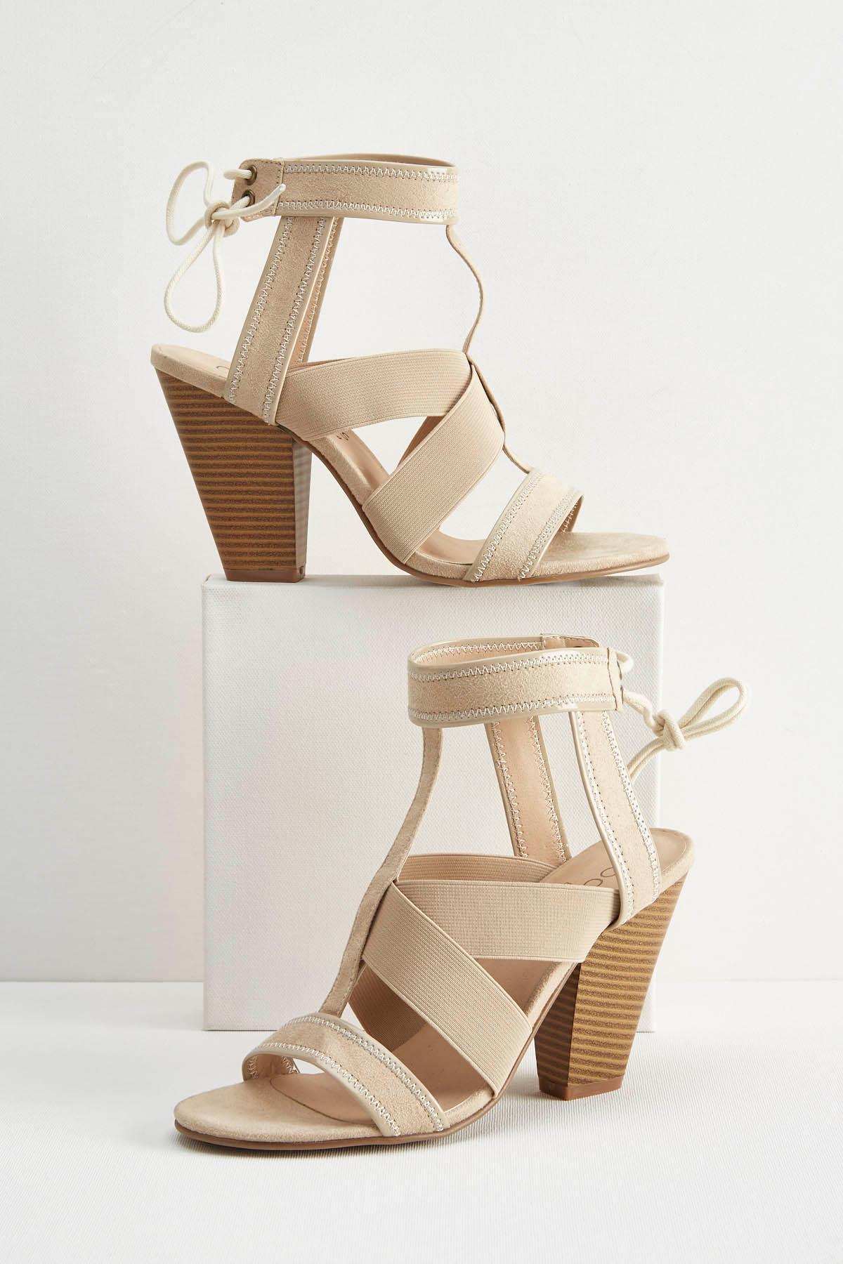 Mixed Media Heeled Gladiator Sandals