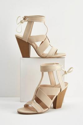mixed media heeled gladiator sandals