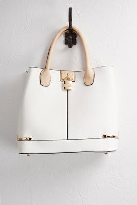 structured two-tone satchel