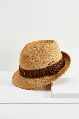 crochet band straw fedora hat