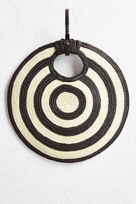 hypnotic circle straw clutch