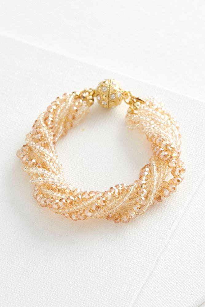 Pave Ball Mixed Bead Magnetic Bracelet