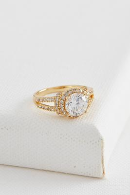 pave cz brass engagement ring