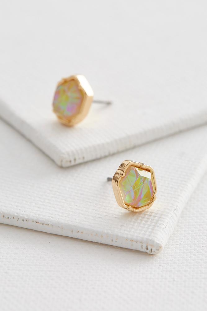 Iridescent Stone Stud Earrings