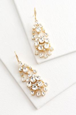 rhinestone and brass chandelier earrings
