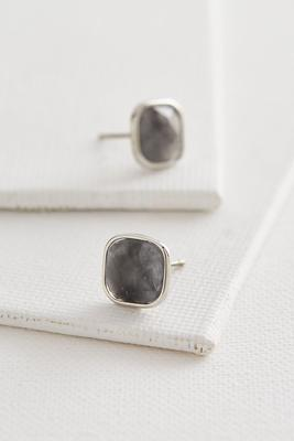 semi-precious cushion cut stud earrings