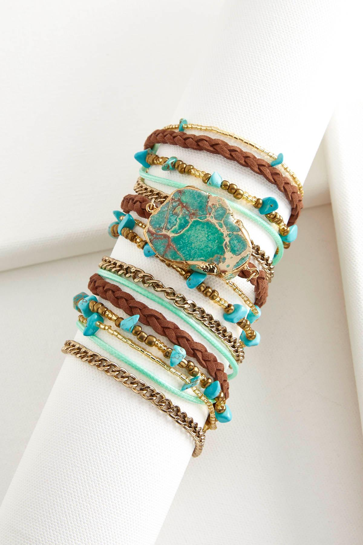 Braided Cord Semi- Precious Wrap Bracelet