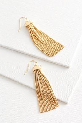 snake chain tassel statement earrings
