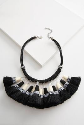 tribal tassel statement necklace