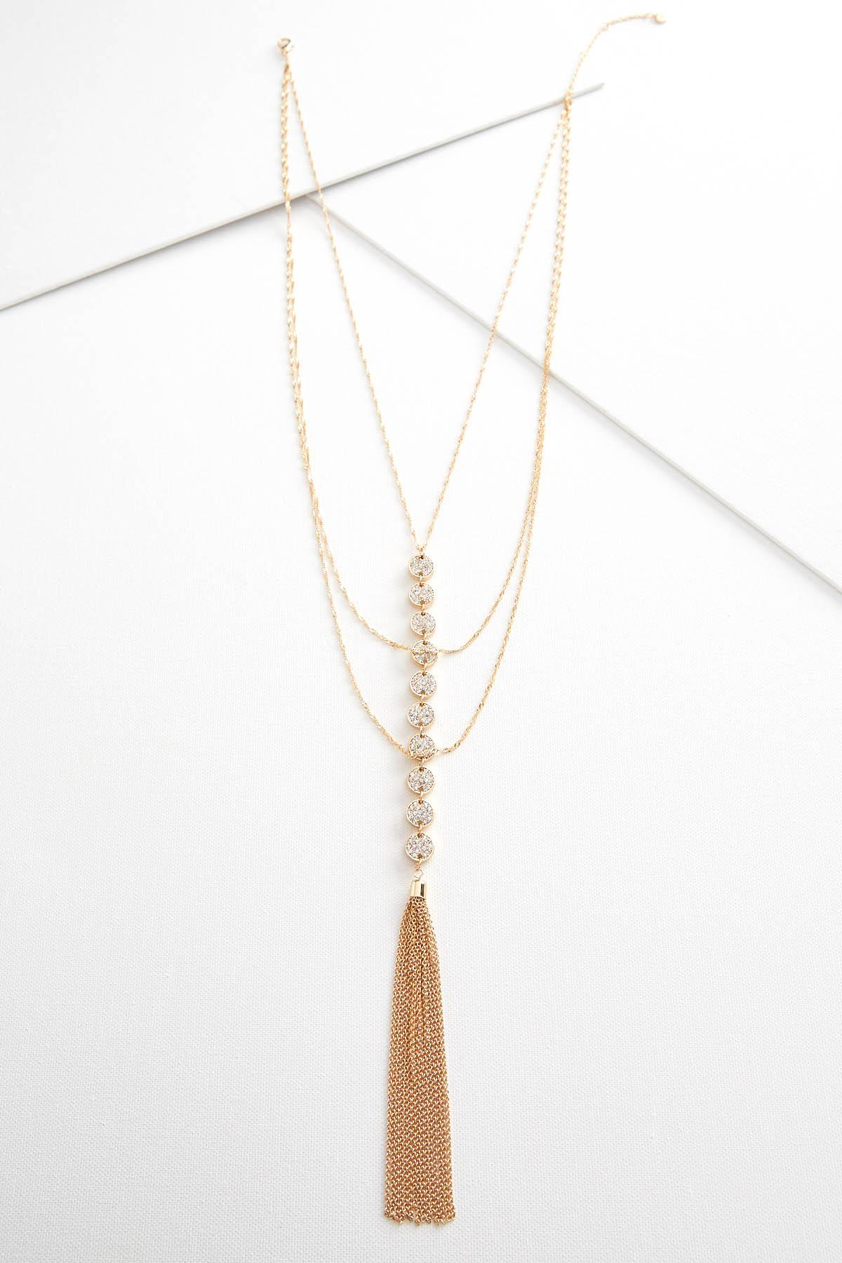 Layered Pave Tassel Necklace