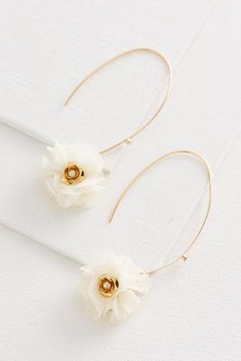 fabric flower dangle earrings