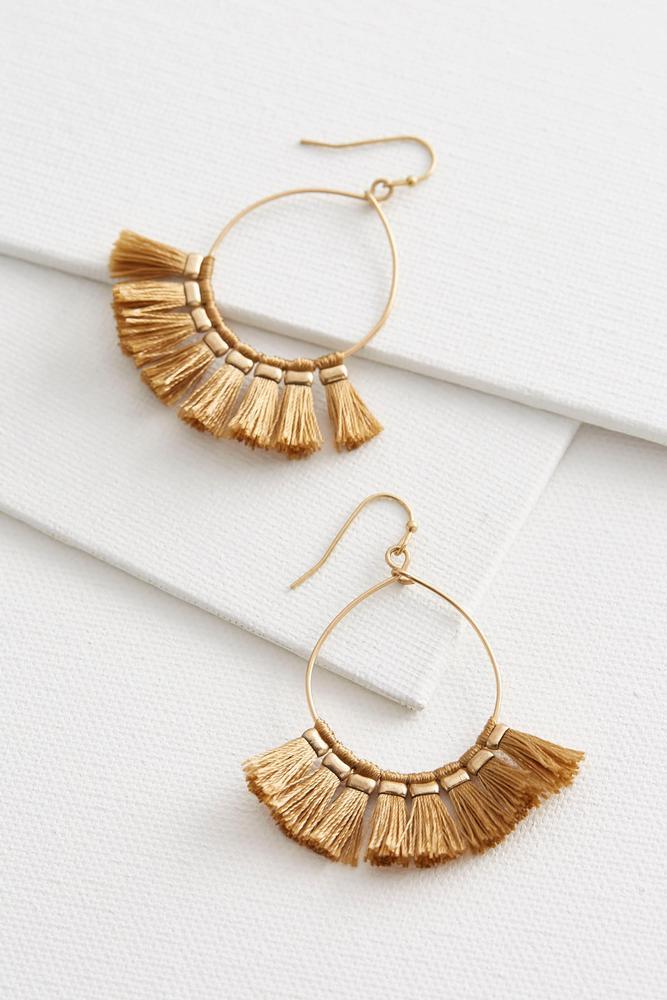 Thread Tasseled Hoop Earrings