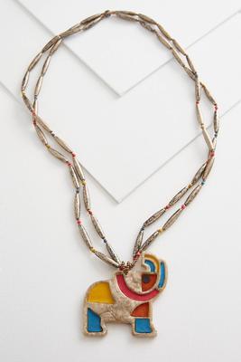 elephant pendant beaded necklace