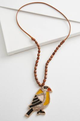toucan pendant cord necklace
