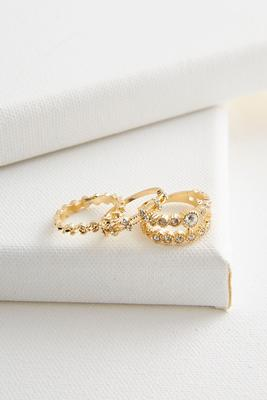 stationed rhinestone stackable ring set