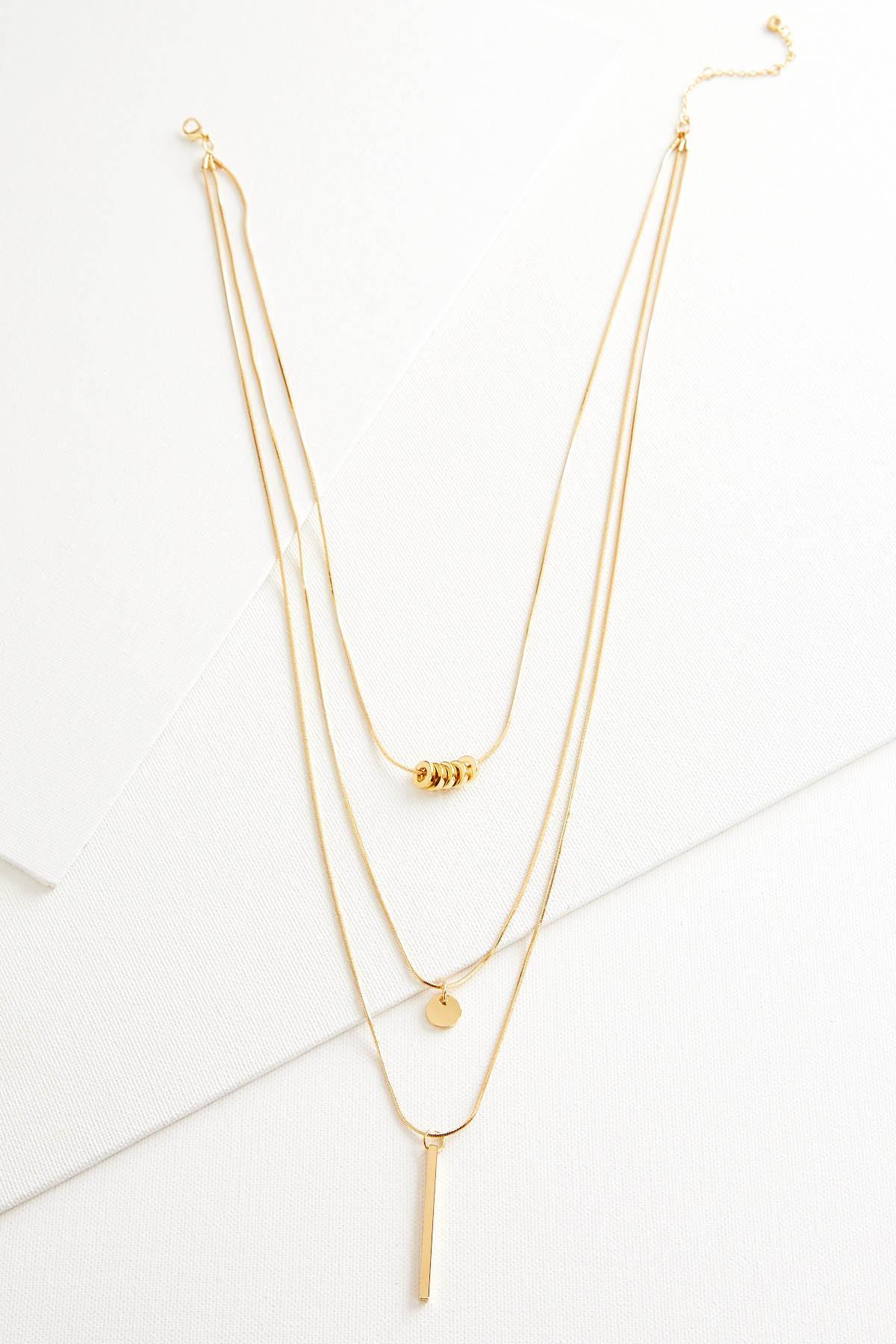 Layered Geo Pendant Necklace