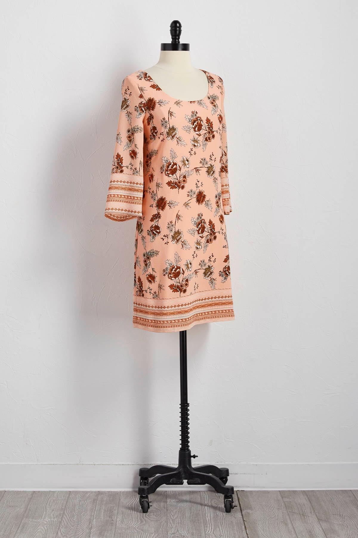 Bordered Floral Lattice Back Shift Dress