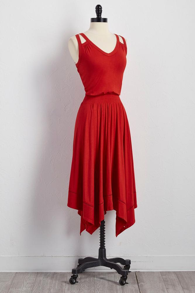 Cutout Strap Hanky Hem Dress