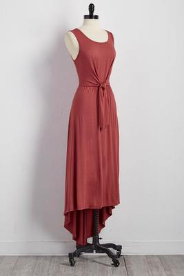 tie front high-low maxi dress