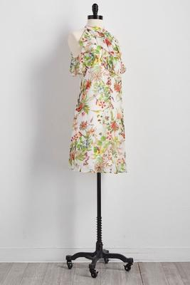 ruffled neck floral shift dress