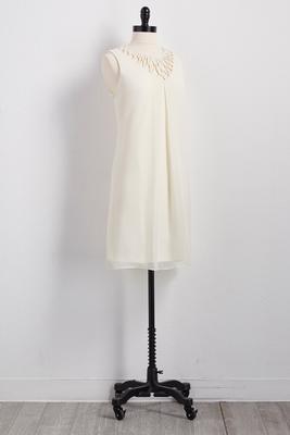 interlocked lattice neck shift dress