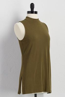 silk wash mock neck tunic
