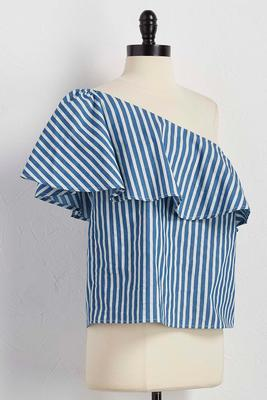 flounced one shoulder striped top