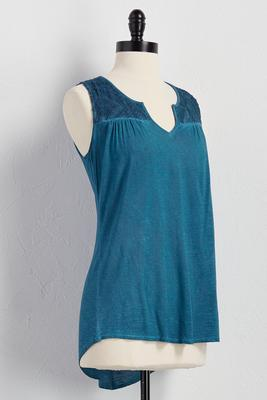 lace shoulder mineral wash tank