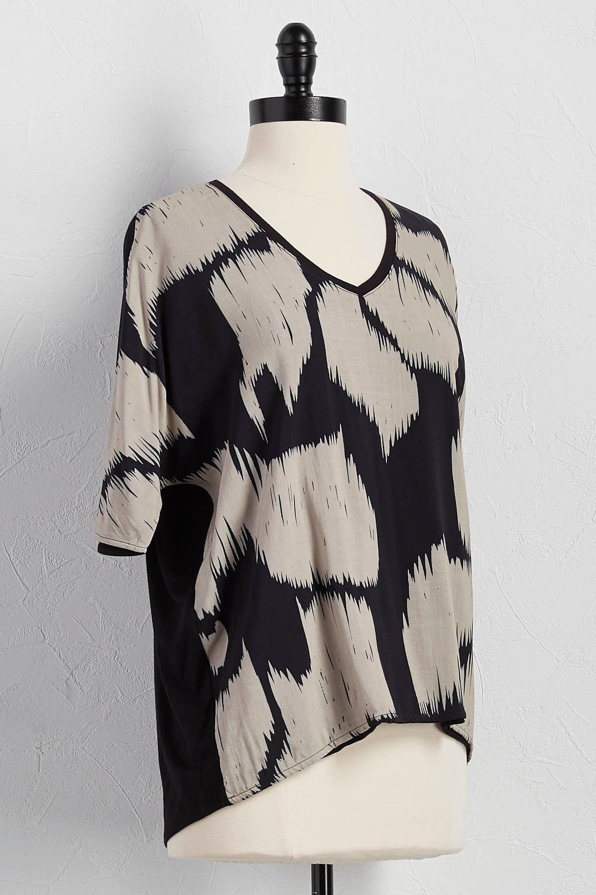Abstract Front Dolman Sleeve Top