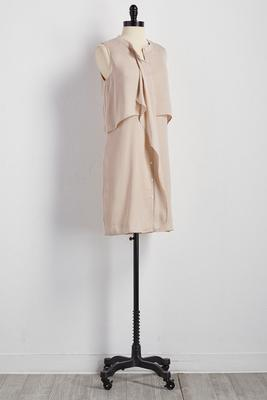 crushed satin tiered ruffle shirt dress
